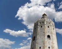 Torre del Oro eller guld- torn (det 13th århundradet), Seville, Andalusia, sydliga Spanien Arkivfoto
