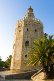 Torre del Oro. The Torre del Oro (English: Gold Tower is a dodecagonal military watchtower in Seville, southern Spain, built by the Almohad dynasty in order to stock photo