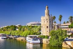 Torre Del Oro Górujący Seville Zdjęcia Stock