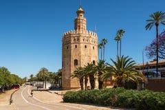 Torre del Oro Gold Toren middeleeuws oriëntatiepunt van vroeg 13de eeuw in Sevilla, Spanje, Andalusia gebied royalty-vrije stock fotografie
