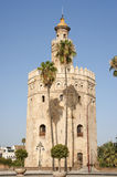 Torre del Oro or Gold Tower in Seville. Is the symbol of the town. It is a moorish watchtower constructed in the 13th century during the berber almohad Stock Photo