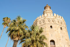 Torre del Oro or Gold Tower in Seville. Is the symbol of the town. It is a moorish watchtower constructed in the 13th century during the berber almohad stock photography