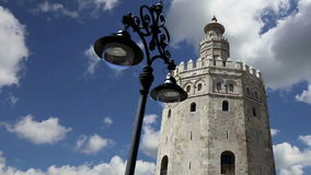 Torre del Oro or Golden Tower 13th century, a medieval Arabic military dodecagonal watchtower in Seville, Andalusia, southern Sp stock footage