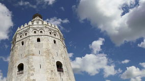 Torre del Oro or Golden Tower 13th century, a medieval Arabic military dodecagonal watchtower in Seville, Andalusia, southern Sp stock video