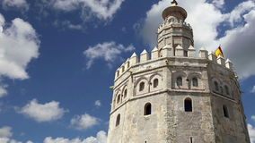 Torre del Oro or Golden Tower 13th century, a medieval Arabic military dodecagonal watchtower in Seville, Andalusia, southern Sp stock video footage