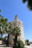 Torre del Oro or Golden Tower (13th century), a medieval Arabic military dodecagonal watchtower in Seville, Andalusia, Spain Stock Image