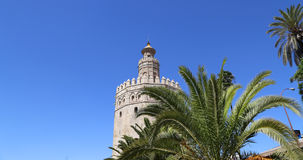 Torre del Oro or Golden Tower (13th century), a medieval Arabic military dodecagonal watchtower in Seville, Andalusia, Spain Royalty Free Stock Photo