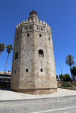 Torre del Oro or Golden Tower (13th century), a medieval Arabic military dodecagonal watchtower in Seville, Andalusia, Spain Stock Photography