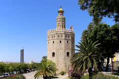 Torre del Oro or Golden Tower (13th century), Seville, Andalusia, southern Spain Royalty Free Stock Image