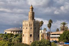 Torre del Oro. Landmark Tower of Gold in Seville, Spain royalty free stock images