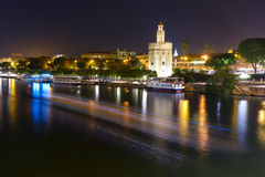 Torre del Oro at night in Seville, Spain Stock Photos