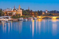 Torre del Oro at night in Seville, Spain Stock Photography