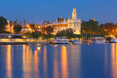 Torre del Oro at night in Seville, Spain Royalty Free Stock Photography