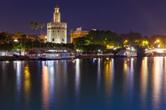 Torre del Oro at night in Seville, Spain Royalty Free Stock Photos