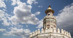 Torre del Oro ou torre dourada (século XIII), Sevilha, a Andaluzia, Espanha do sul Fotografia de Stock Royalty Free