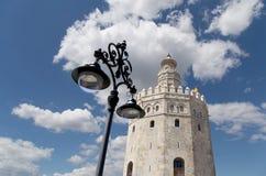 Torre del Oro ou torre dourada (século XIII), Sevilha, a Andaluzia, Espanha do sul Fotos de Stock