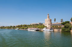 Torre del Oro seen from the Guadalquivir River in Seville. Torre del Oro (Tower of Gold) seen from the Guadalquivir River in Seville, Spain stock photography