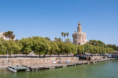 Torre del Oro seen from the Guadalquivir River in Seville. Torre del Oro (Tower of Gold) seen from the Guadalquivir River in Seville, Spain royalty free stock image