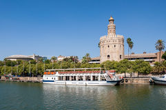 Torre del Oro seen from the Guadalquivir River in Seville. Torre del Oro (Tower of Gold) seen from the Guadalquivir River in Seville, Spain stock photo