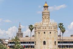 Torre del Oro, Sevilha, rio de Guadalquivir, torre do ouro, Sevil Imagem de Stock