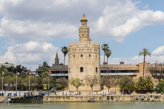 Torre del Oro, Sevilla, Guadalquivir river, Tower of gold, Seville, Spain stock photo
