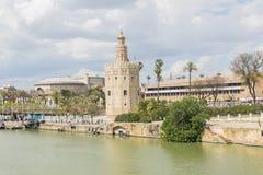 Torre del Oro, Sevilla, Guadalquivir river, Tower of gold, Seville, Spain.  royalty free stock image