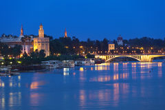 Torre del Oro in Sevilla at night, Spain Royalty Free Stock Images