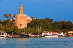 Torre del Oro in Sevilla, Spain. Torre del Oro over Guadalquivir river at sunset Royalty Free Stock Photography