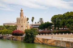 Torre del Oro in Sevilla, Spain. Torre del Oro next to river Guadalquivir in Sevilla, Spain stock photography