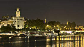Torre del oro,seville,andalucia,spain. Night view of the tower of gold torre del oro in Seville royalty free stock photos