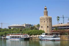 Torre del Oro, Seville, Andalusia, Spain. The Torre del Oro (English: Gold Tower) is a dodecagonal military watchtower in Seville, southern Spain, built to royalty free stock photography