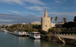 Torre del Oro in Seville, south of Spain. The Torre del Oro `Tower of Gold` is a dodecagonal military watchtower in Seville, southern Spain. Constructed in the stock image