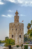 Torre del Oro, Seville, Spain. The Torre del Oro English: `Tower of Gold` is a dodecagonal military watchtower in Seville, Spain stock photo