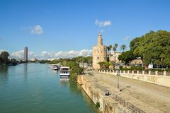 Torre del Oro in Seville, Spain. The Golden Tower is a landmark of Seville on the banks of the Guadalquivir royalty free stock photography