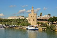 Torre del Oro in Seville, Spain. The Golden Tower is a landmark of Seville on the banks of the Guadalquivir royalty free stock images