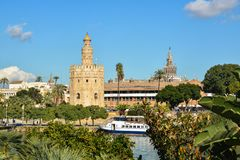 Torre del Oro in Seville, Spain. The Golden Tower is a landmark of Seville on the banks of the Guadalquivir stock image