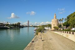 Torre del Oro in Seville, Spain. The Golden Tower is a landmark of Seville on the banks of the Guadalquivir stock photography