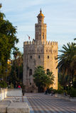 Torre del Oro. Seville, Spain. SEVILLE, SPAIN - NOVEMBER 19, 2014: Dawn view of Torre del Oro. Seville, Spain stock photo