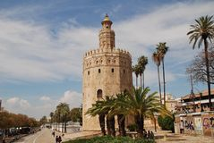The Torre del Oro in Seville. The Torre del Oro on the banks of the Guadalquivir river in Seville, Spain on April 2, 2019. Dating from 1220, the former stock photo