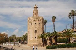 Torre del Oro in Seville. The Torre del Oro on the banks of the Guadalquivir river in Seville, Spain on April 2, 2019. Dating from 1220, the former watchtower royalty free stock images