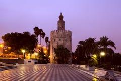 Torre del Oro - torre de oro en Sevilla Foto de archivo