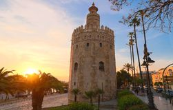 Torre del Oro -Tower of Gold on the bank of the Guadalquivir river, Seville, Spain. Torre del Oro -Tower of Gold on the bank of the Guadalquivir river at sunset stock image