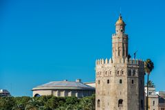 The Torre del Oro tower in Seville, Spain royalty free stock image