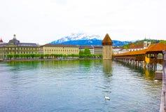 Torre del ponte e di acqua della cappella Lucerna - in Svizzera Immagine Stock Libera da Diritti