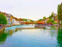 Torre del ponte e di acqua della cappella Lucerna - in Svizzera Fotografie Stock