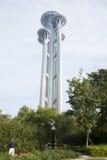 Torre del puesto de observación, escultura de nieve que vuela Foto de archivo libre de regalías