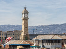 Torre Del Rellotge w Portowym Vell, Barcelona Hiszpania Fotografia Royalty Free