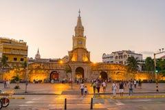 Torre del Reloj或者尖沙咀钟楼在卡塔赫钠,哥伦比亚 免版税库存图片