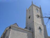Torre del reloj de la iglesia católica de Nassau Bahamas Fotografía de archivo libre de regalías