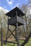 Torre del reloj del campo de concentración Imagenes de archivo